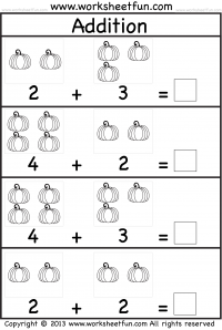graphic relating to Free Printable Math Addition Worksheets for Kindergarten known as Pumpkin Visualize Addition Kindergarten Addition Worksheet