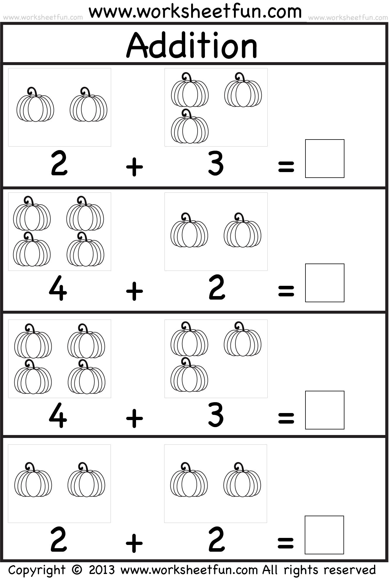 addition worksheet for kindergarten – Kindergarten Addition Worksheets Free