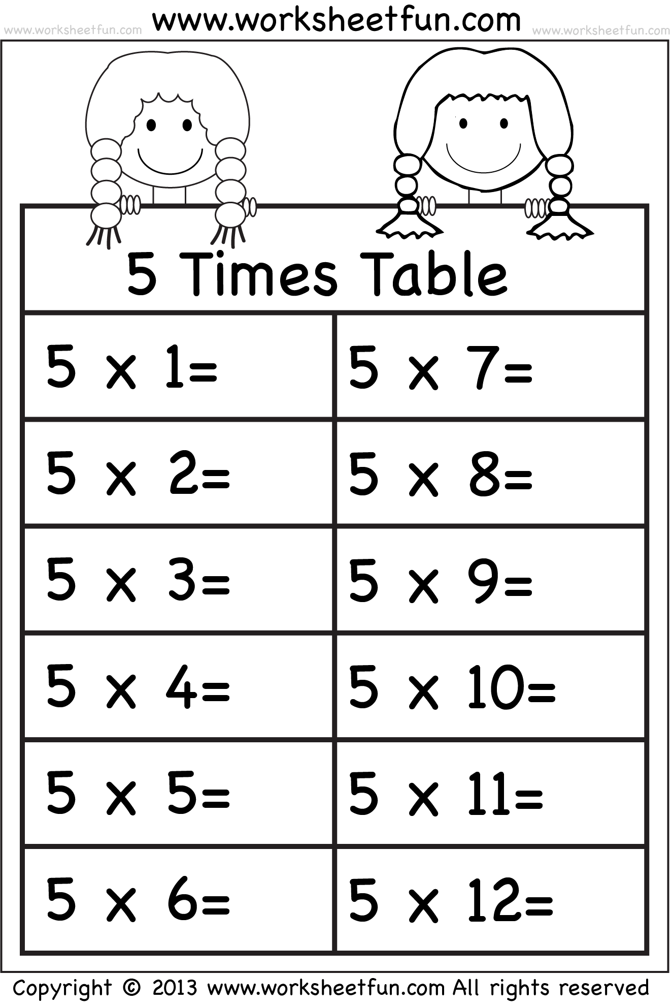 Times Tables Worksheets 2 3 4 5 6 7 8 9 10 11 and 12 – 5 Multiplication Table Worksheet