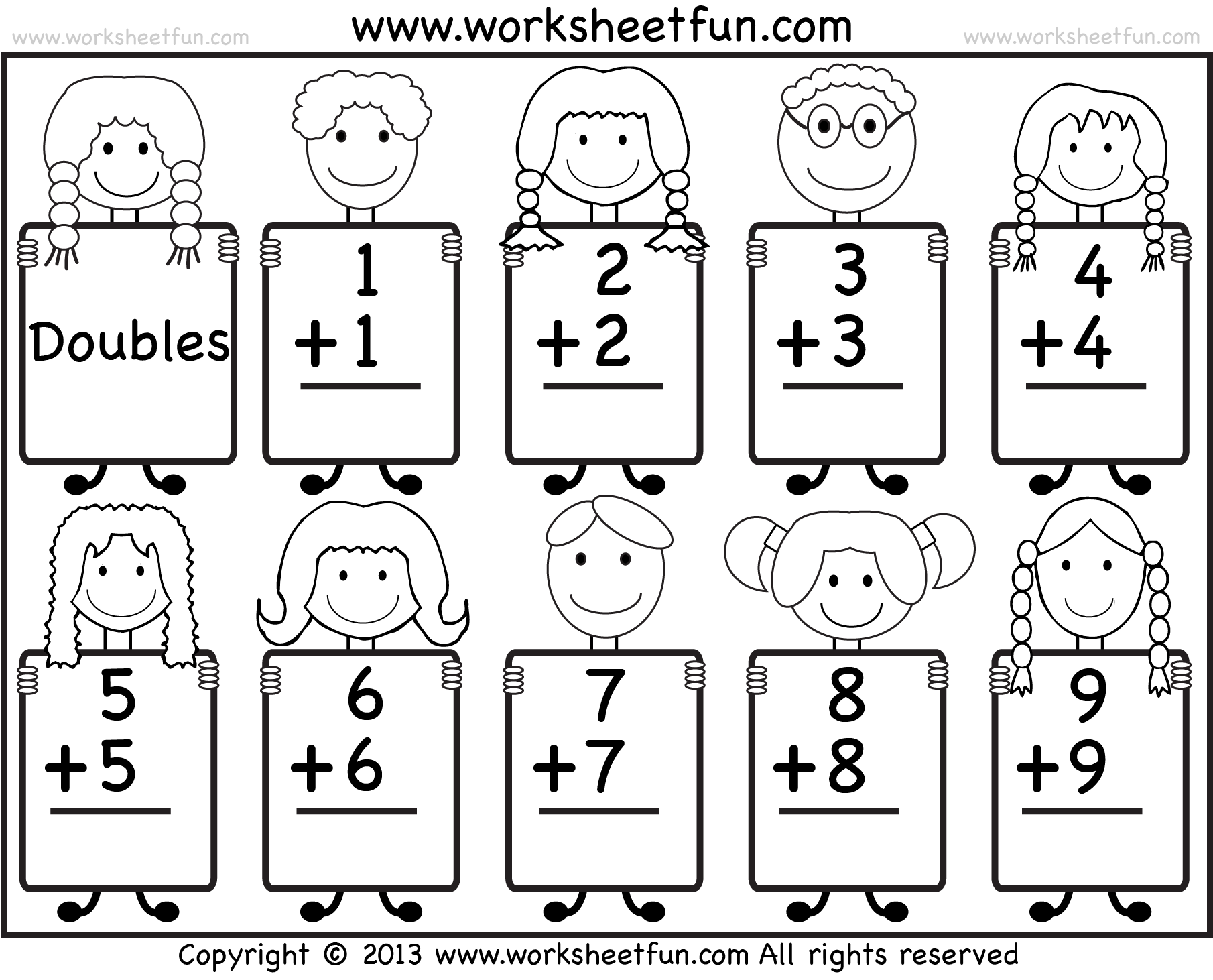 math worksheet : addition doubles facts  beginner addition worksheet  free  : Doubles Addition Worksheet