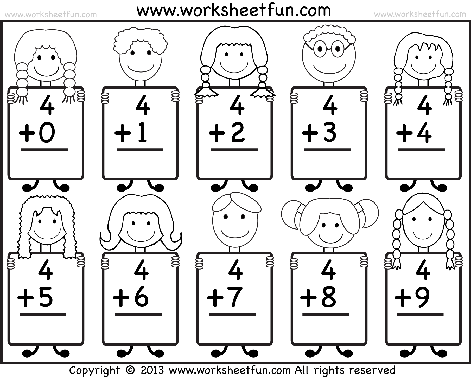 Beginner Addition u2013 Basic Addition facts u2013 9 Kindergarten Addition Worksheets / FREE Printable ...