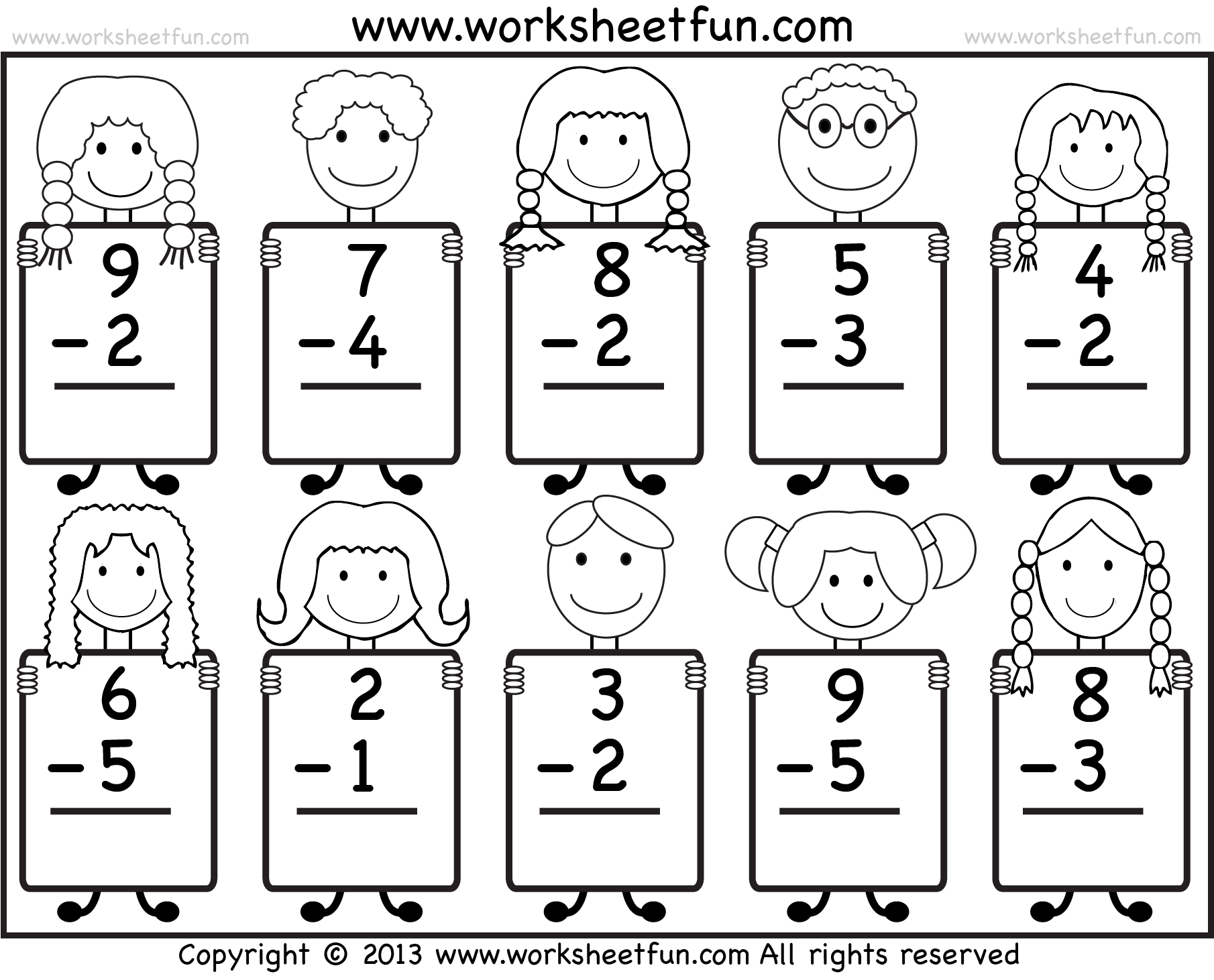 Worksheets Printable Math Worksheets For Kids beginner subtraction 10 kindergarten worksheets subtraction
