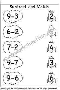 Kindergarten Subtraction Worksheets – Subtract and Match –  3 Worksheets
