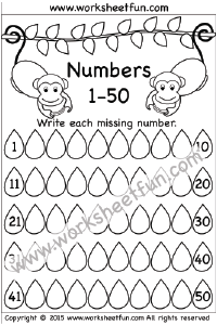 Missing Numbers – 1-50 – One Worksheet