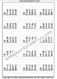 Trading In A Car With Problems >> Addition – 4 Digit / FREE Printable Worksheets – Worksheetfun