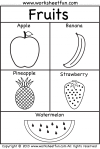 Fruits Coloring  – 3  Worksheets