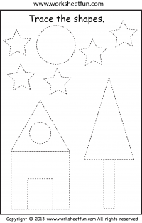 Picture Tracing – Shapes – Circle, Star, Triangle, Square & Rectangle – One Worksheet