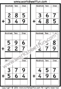3 Digit Addition With Regrouping – Carrying – 5 Worksheets