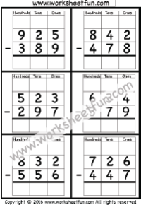 3 Digit Borrow Subtraction – Regrouping – 4 Worksheets