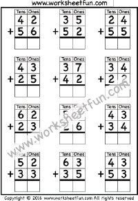 math worksheet : addition  no regrouping  free printable worksheets  worksheetfun : Two Digit Addition Without Regrouping Worksheet