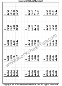 subtraction  no regrouping  free printable worksheets  worksheetfun  digit subtraction  no regrouping  three worksheets