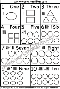 Numbers 1-10 – Numbers in words – Tally Marks – One Worksheet