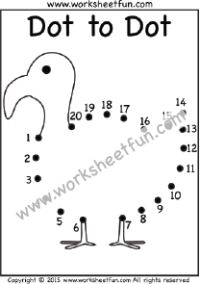 Dot to Dot – Duck – Numbers 1-20 – One Worksheet / FREE ...